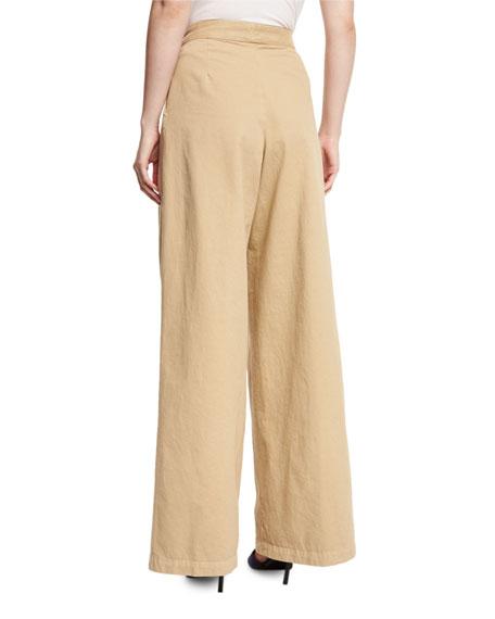 Pamplona Wide-Leg Button-Waist Pants, Sand
