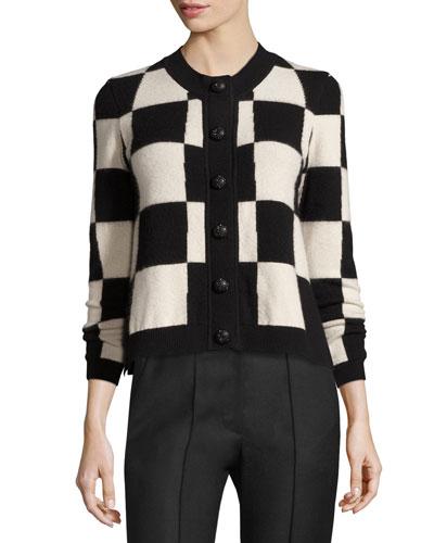 Checkered Cashmere Cardigan, Black/Gray