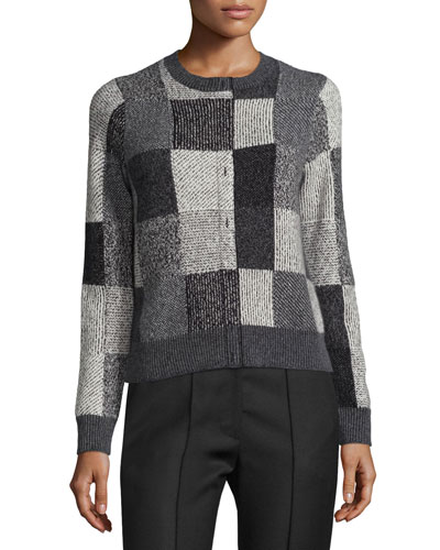 Intarsia Faux-Placket Patchwork Sweater, Gray