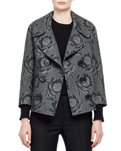 Double-Breasted Floral Jacquard Coat, Gray