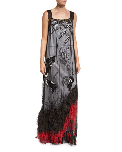Feather-Hem Sleeveless Lace Gown, Black