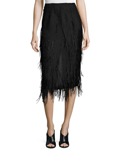 Ostrich-Feather Pencil Midi Skirt, Black