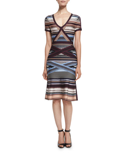 Short-Sleeve Multi-Stripe Dress