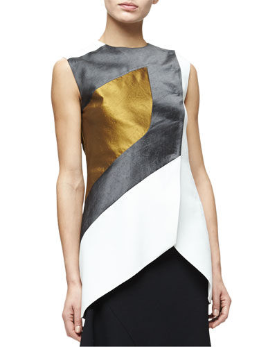 Sleeveless Textured Colorblock Top, Multi Colors