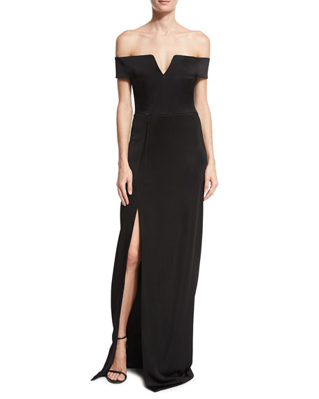 Satin Off-the-Shoulder Gown, Black