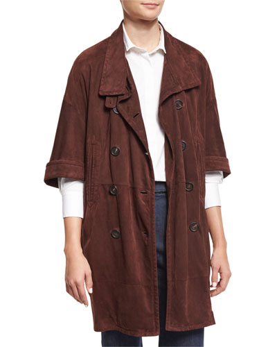 Half-Sleeve Double-Breasted Suede Jacket, Bordeaux