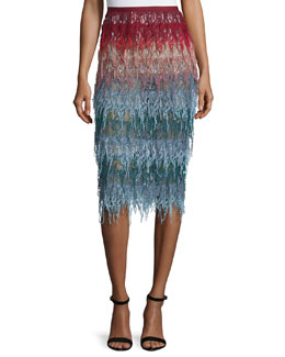 Tiered Colorblock Lace Skirt, Multi