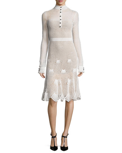 Mock-Neck Embroidered Mesh Dress, White