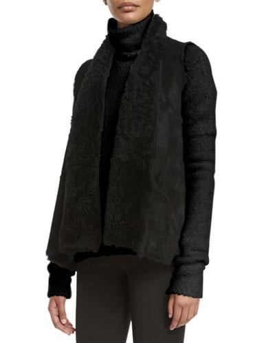 Reversible Shearling Fur Vest, Black