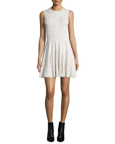 Sleeveless Spine Lace Dress, Ivory
