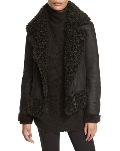 Sculpted Shearling Fur-Lined Bomber Jacket, Mud