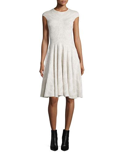 Cap-Sleeve Spine Lace Dress, Ivory