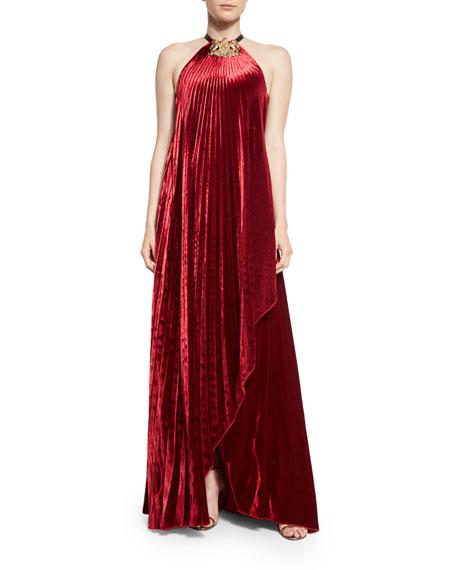 Fluid Velvet Plisse Halter Gown, Crimson