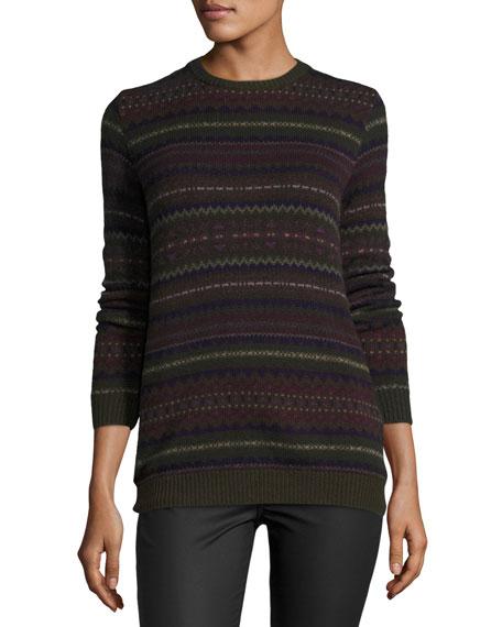 Ralph Lauren Collection Loden Fair Isle Crewneck Cashmere Sweater