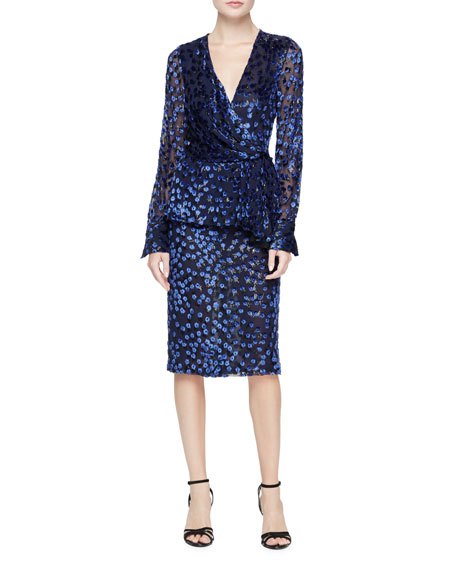 J. Mendel Long-Sleeve Wrap-Front Devoré Dress, Ultramarine