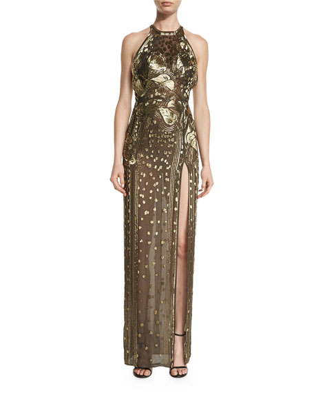 Metallic Calla Lily-Embellished Halter Gown, Gold