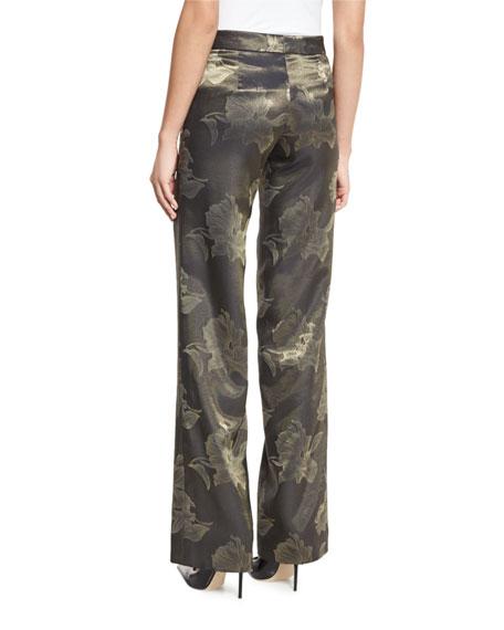 Metallic Floral Jacquard Pants, Gold