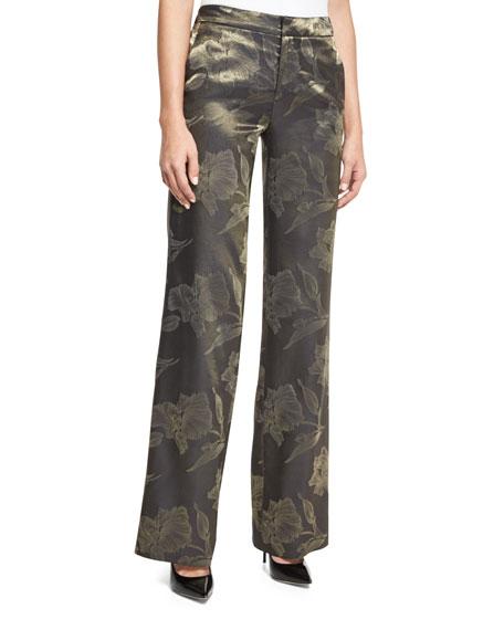 J. Mendel Metallic Floral Jacquard Pants, Gold
