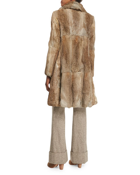Mid-Length Rabbit Fur Coat, Brown/White