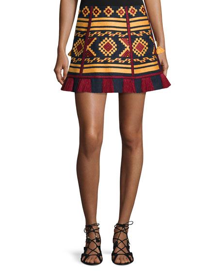 Embroidered Tassel-Trim Mini Skirt, Navy/Mustard