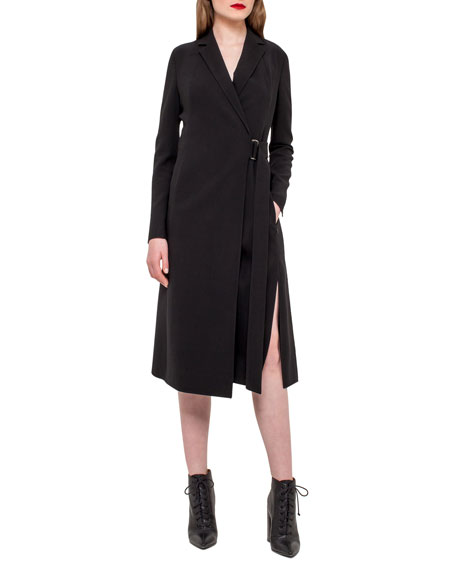 Akris Wrap Dress w/Pleated Back, Black