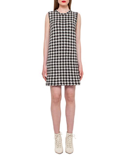 Reversible Houndstooth Cashmere Dress, Black/Moonstone