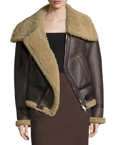Balenciaga Off-the-Shoulder Shearling Bomber Jacket, Brown/Natural
