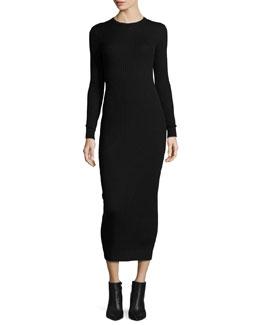 Long-Sleeve Knit Midi Dress, Black