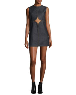 Cutout Denim Shift Dress, Brut