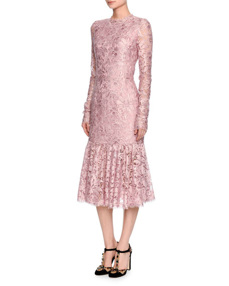 b0d71f90 Dolce & Gabbana Long-Sleeve Lace Flounce-Hem Dress, Light Pink