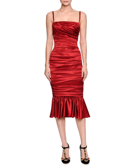 98c5cb4f Dolce & Gabbana Ruched Satin Cocktail Dress, Red