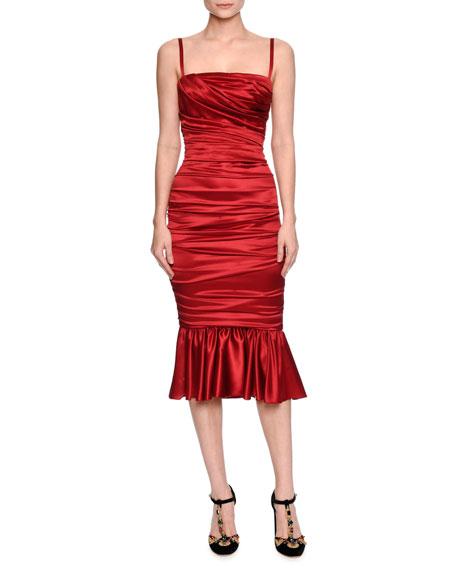 a4a28cd836 Dolce   Gabbana Ruched Satin Cocktail Dress