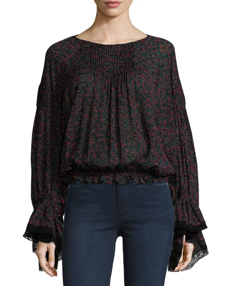 Chloe Cherry-Print Pintuck Blouse with Bell Sleeves, Black