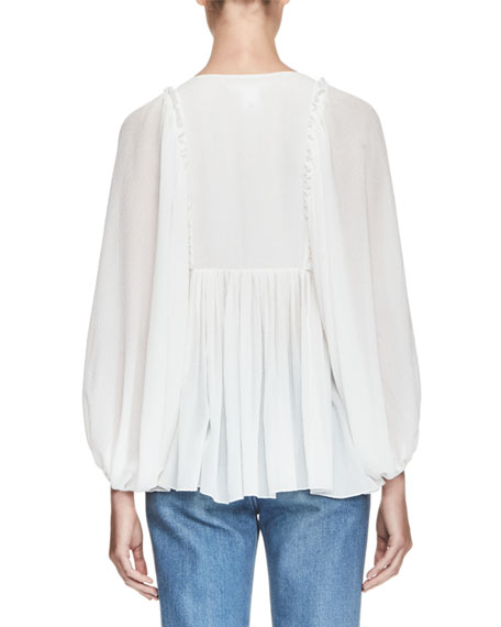 Bishop-Sleeve Seersucker Blouse, White
