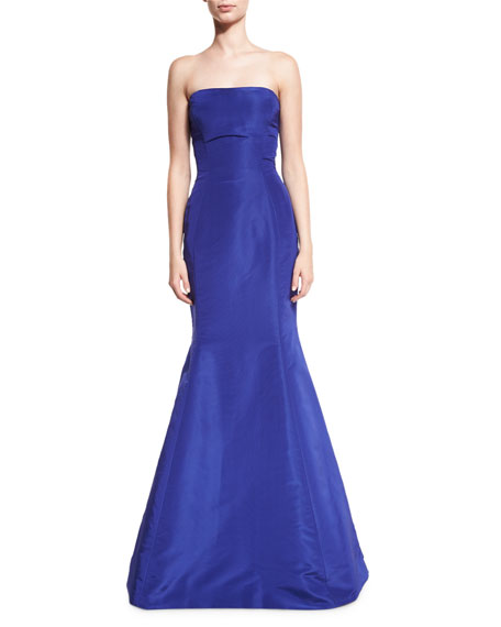 Strapless Ruffle-Back Silk Faille Gown, Royal
