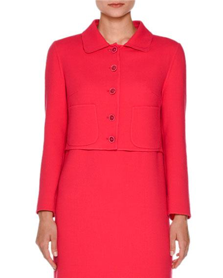 Cropped Wool-Blend Jacket, Fuchsia