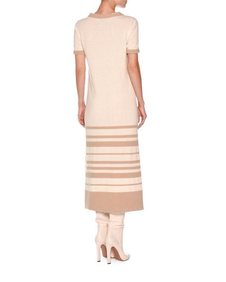 Short-Sleeve Striped Boucle Midi Dress, White Nude