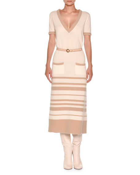 Short-Sleeve Striped Boucle Midi Dress, White Nude