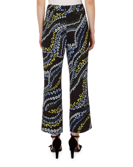 Verity Cropped Flare-Leg Pants, Black Multi