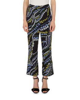 Verity Cropped Flare-Leg Pants, Black Multi