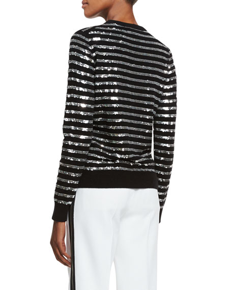 Sequin-Striped Crewneck Sweater, Black