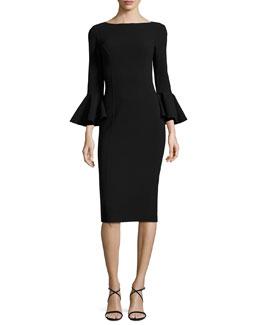 Bell-Cuff Bateau-Neck Sheath Dress, Black
