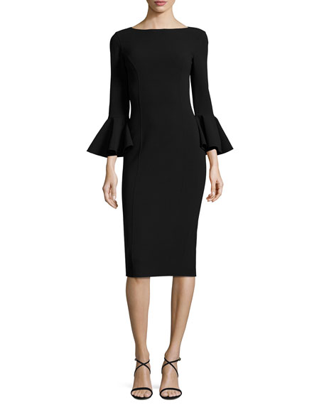 Michael Kors Collection Bell-Cuff Bateau-Neck Sheath Dress, Black