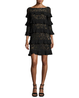Tiered 3/4-Sleeve Lace Dress, Black