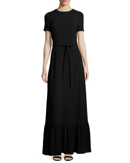 Co Short Sleeve Crewneck Maxi Dress Black
