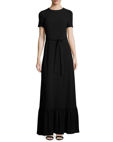 Short-Sleeve Crewneck Maxi Dress, Black