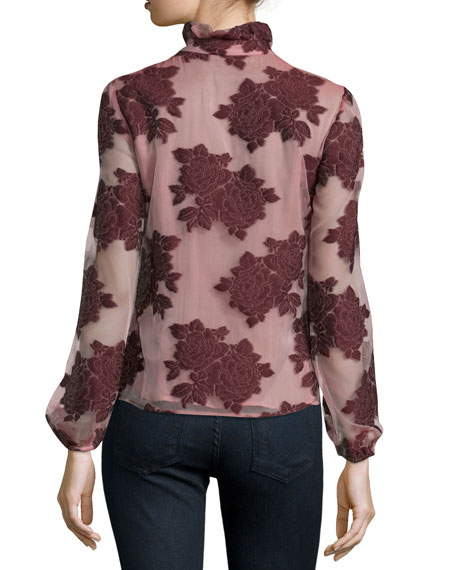 Ruffle-Neck Floral Jacquard Top, Burgundy