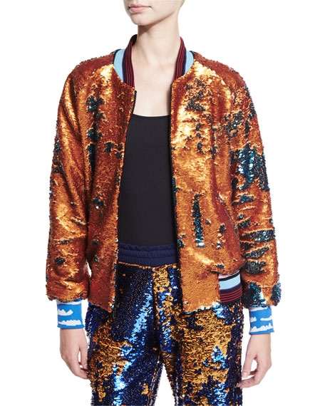Libertine Sequined Bomber Jacket Orange Teal