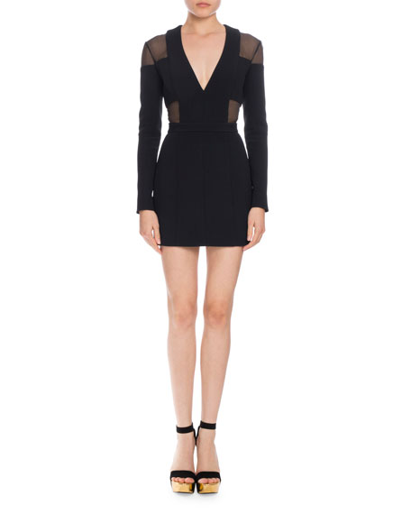 Sheer Inset V-Neck Mini Dress, Black