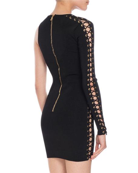 Suede Lace-Up One-Shoulder Dress, Black
